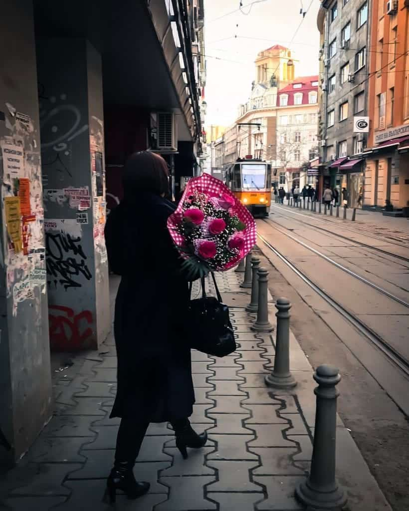 Bulgaria - Sofia -Valentine's Day Woman with Flowers