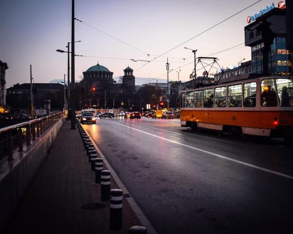 Bulgaria - Sofia - Tram in front of Sveta Nedelya