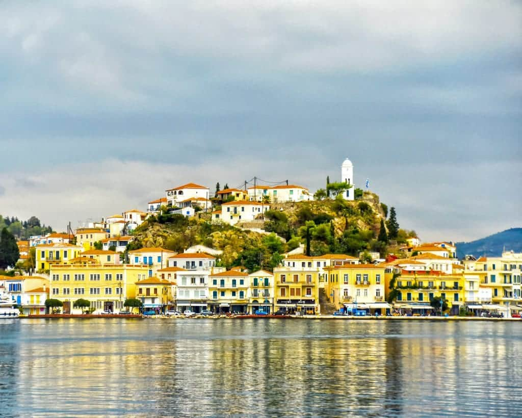 Greece - Poros - Houses and Clock