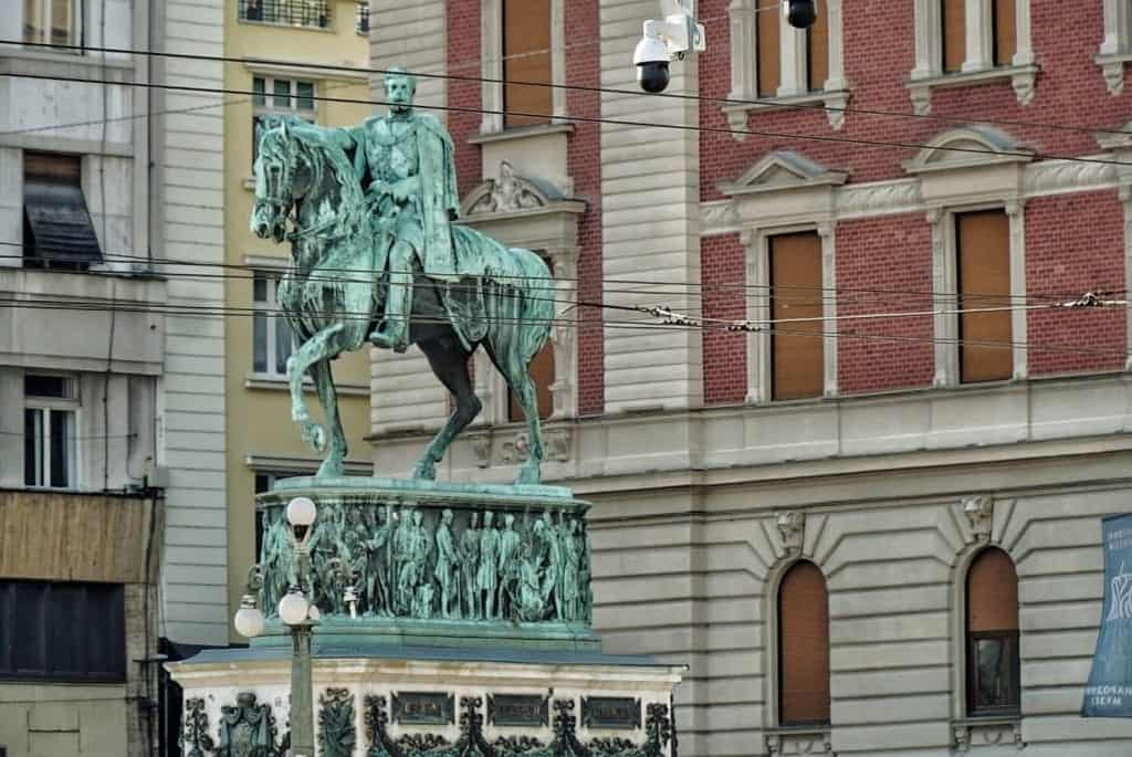 Serbia - Belgrade - Prince Mihailo Monument in front of the National Museum