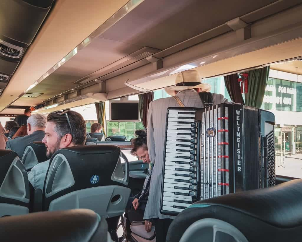 Bulgaria - Bus from Sofia to Belgrade - Passenger with accordion