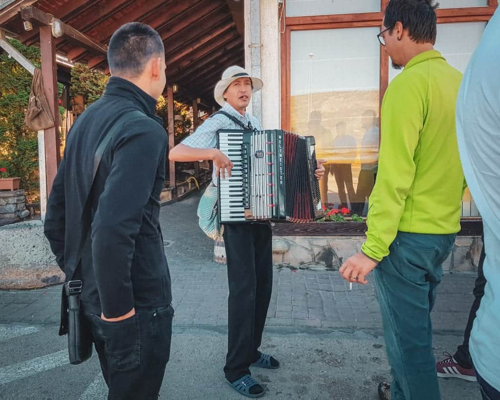 Serbia - Nis - An impromptu accordeon concert from another bus passenger