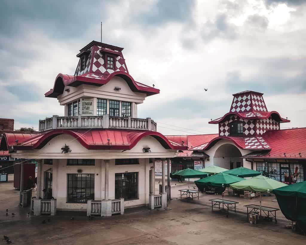 Serbia - Belgrade - Zeleni Venac Market - Red and White Building