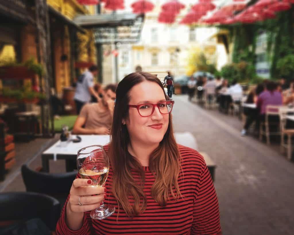 Serbia - Belgrade - Manufaktura Stephanie with Fruska Gore Wine Red Umbrellas