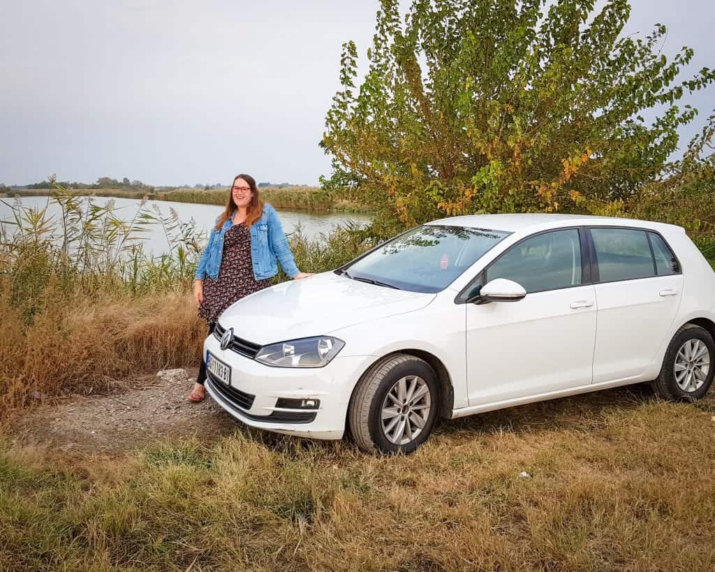 Serbia - Subotica - Stephanie at Lake Palic with Rental Car