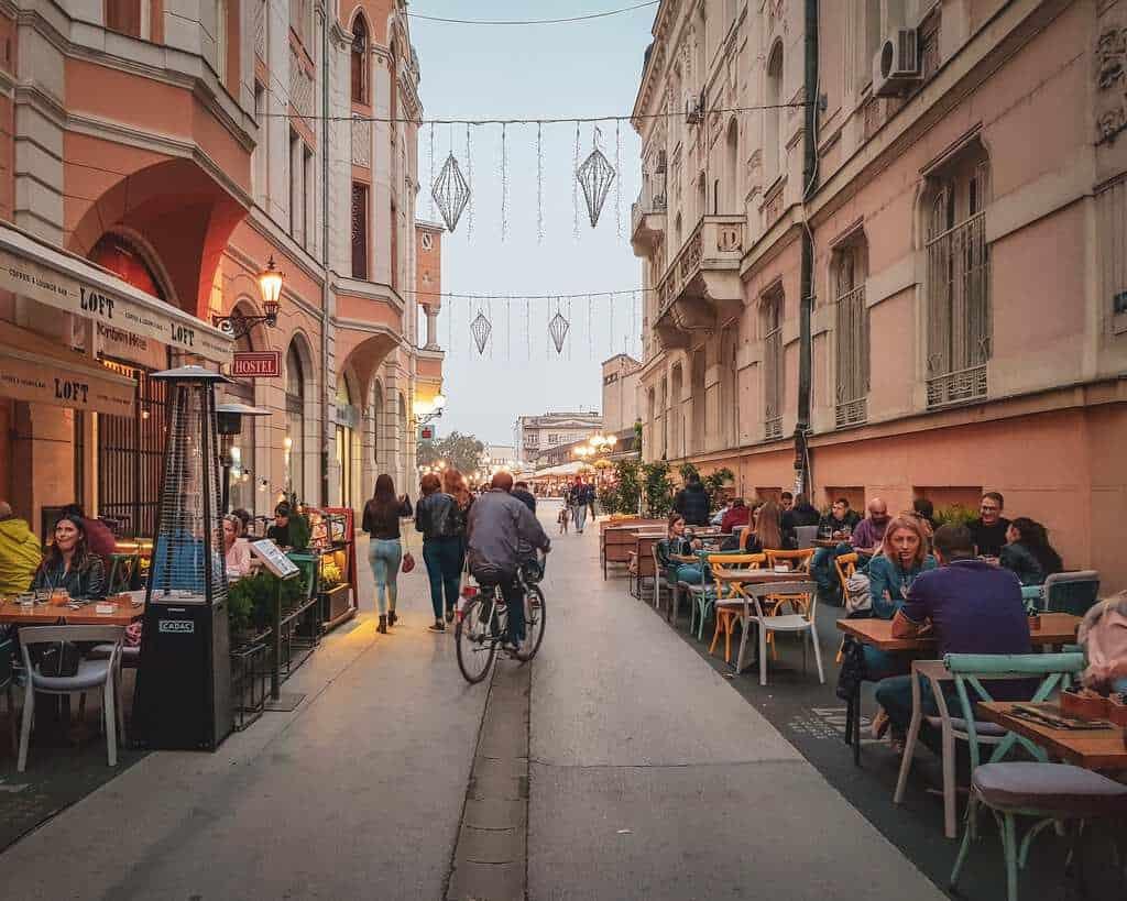 Serbia - Novi Sad - Street and Sidewalk Cafe