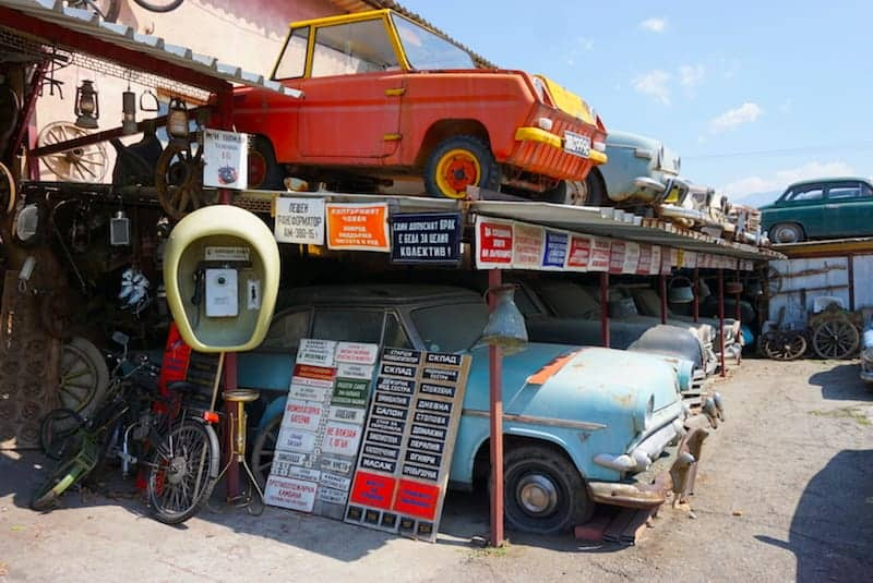Bulgaria - Junkyard near Rila - Cyrillic signs and cars