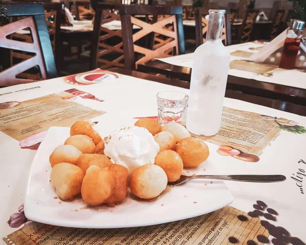Greece - Heraklion - Restaurants Greek Food Loukamades and Raki Crete Food Greek Food Ligo Krasi Ligo Thalassa