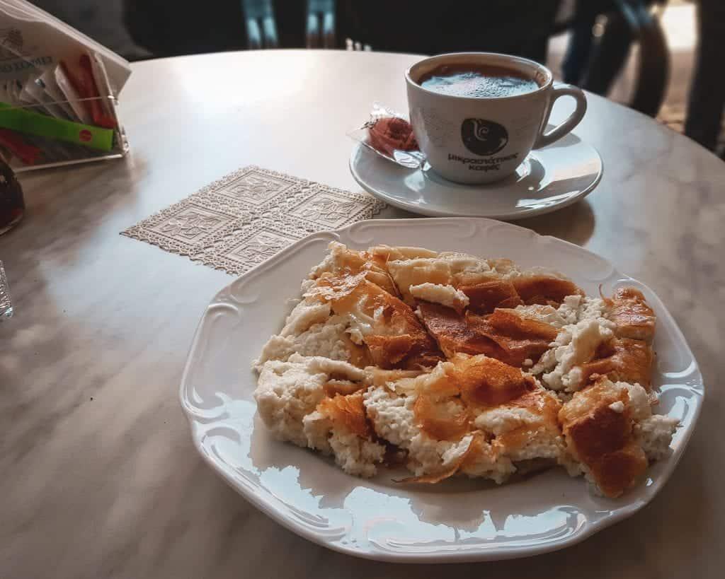 Greece - Heraklion - Restaurants Greek Food Crete Food Fyllo Sophies Bougasta Greek Coffee