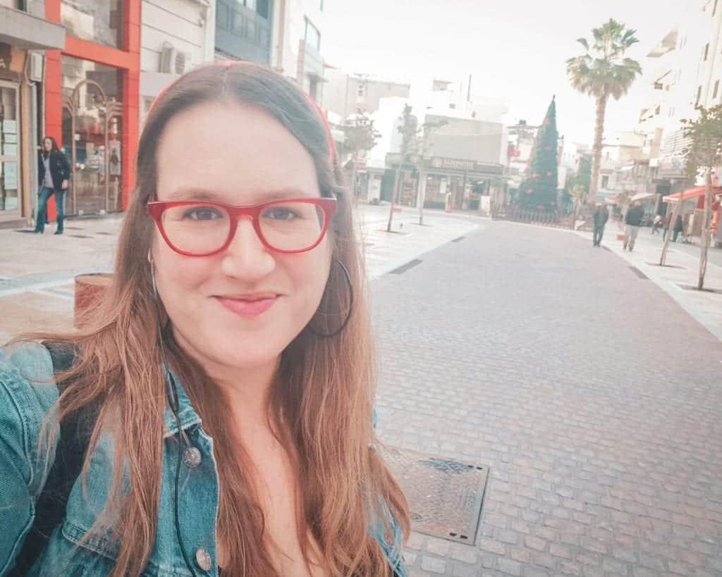 Greece - Crete - Heraklion - Christmas Tree Selfie Stephanie