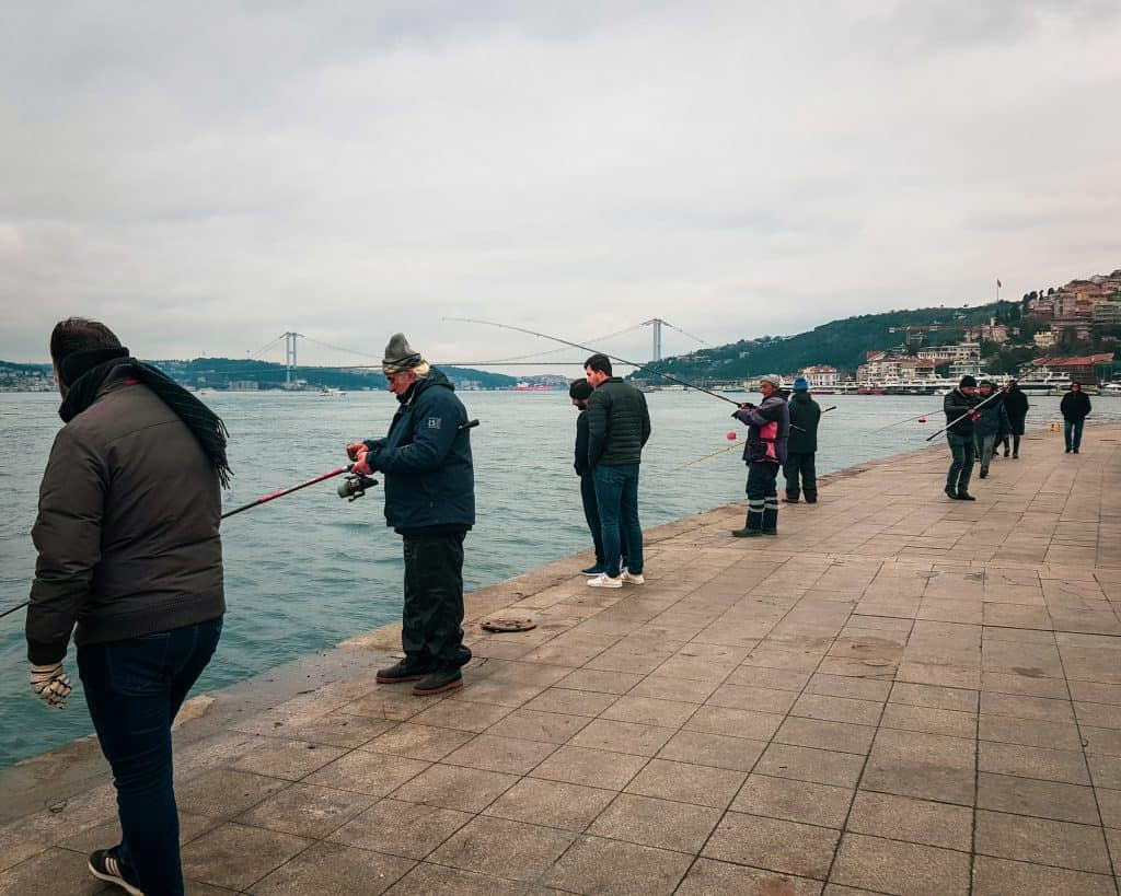 Turkey - Istanbul - Men Fishing on the Bosphorus