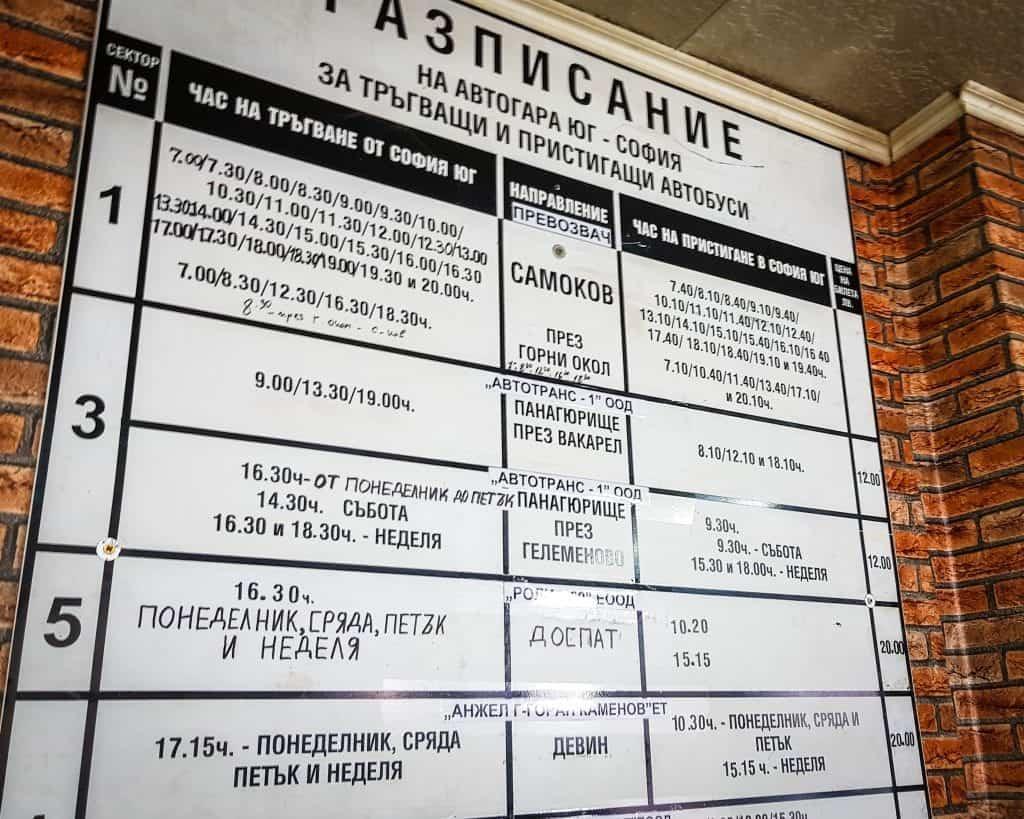 Bulgaria - Sofia - Sofia South Bus Station Avtogara Yug Schedule