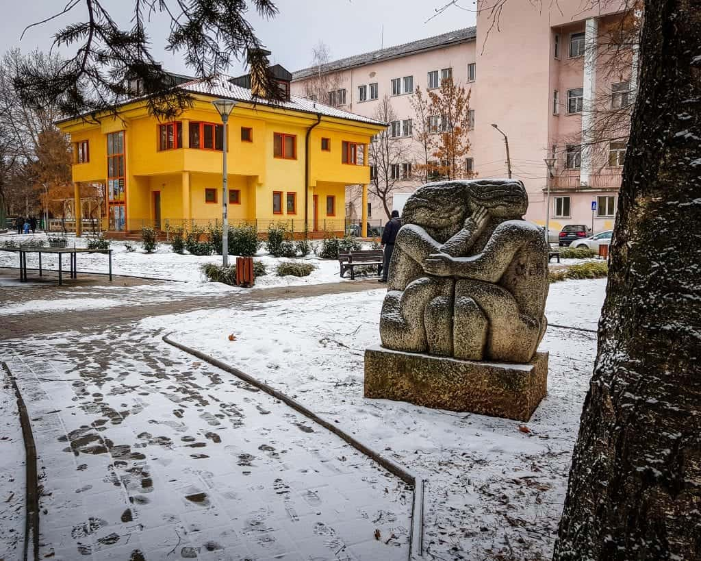 Bulgaria - Pernik - Statue in the Snow