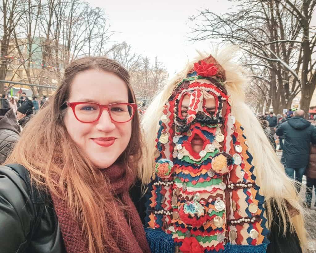 Bulgaria - Pernik - Kukeri Selfie Stephanie