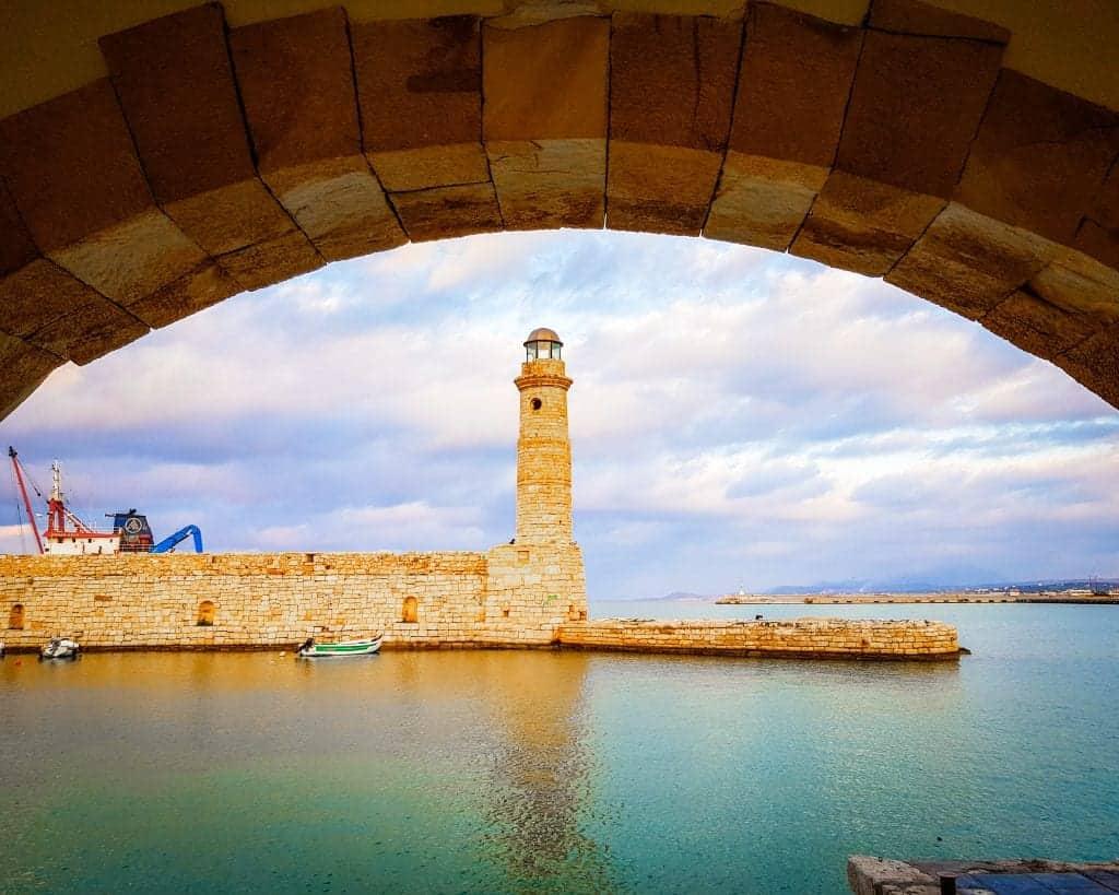 Greece - Crete - Rethymnon - Venetian Harbor of Rethymnon Lighthouse
