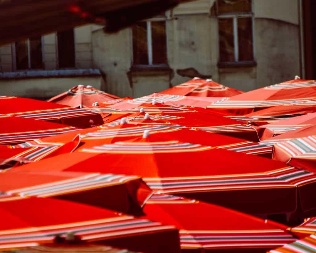 Croatia - Zagreb - Market - Red Umbrellas