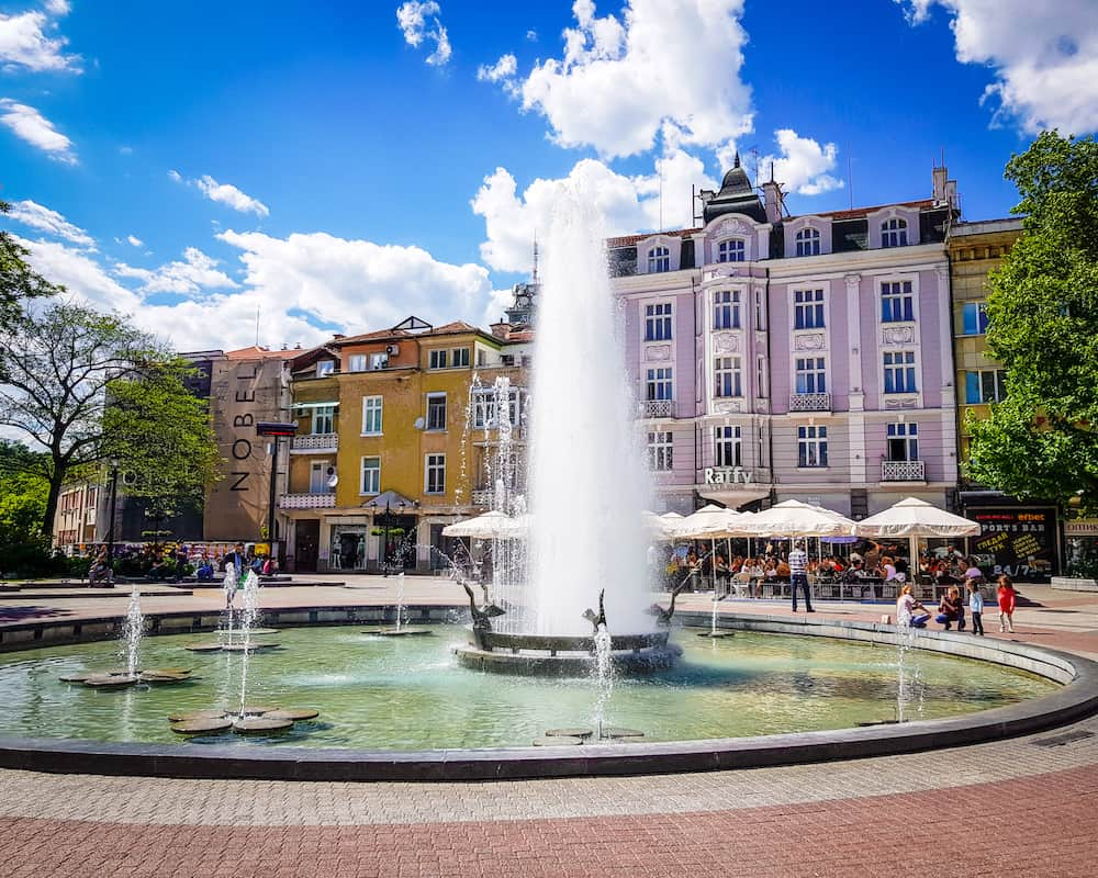 Bulgaria - Plovdiv - Fountain in front of Raffy