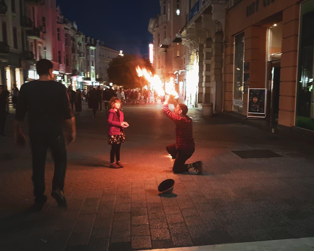 Bulgaria - Plovdiv - Plovdiv at Night Fire Performer