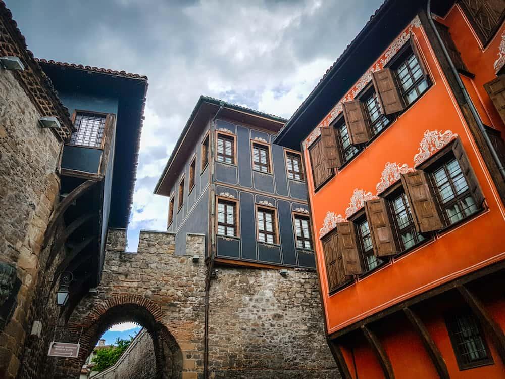 Bulgaria - Plovdiv - Hisar Kapia Gate and Colorful Bulgarian Revival Houses
