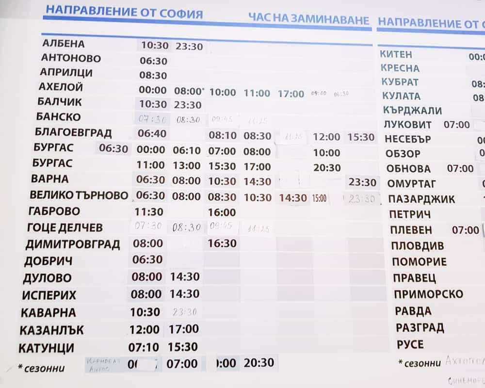 Bulgaria - Sofia - Union Ivkoni Bus Schedule from Sofia to Veliko Tarnovo