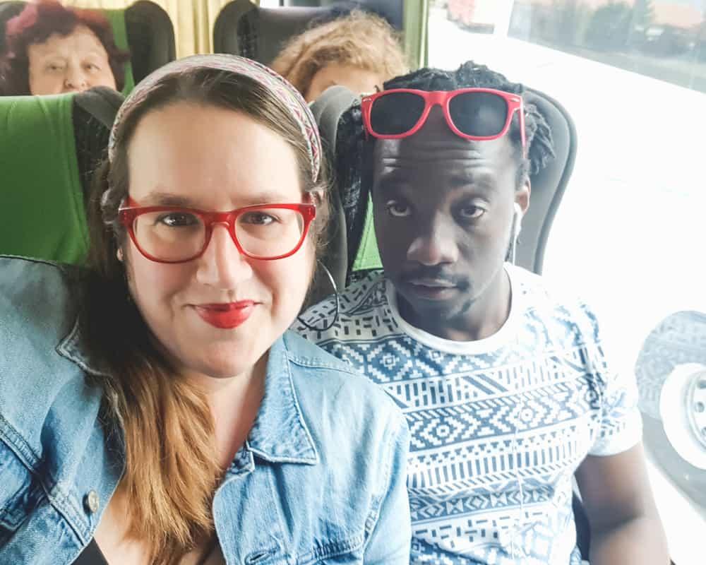 Bulgaria - Veliko Tarnovo - Stephanien and Valentine on the Bus from Sofia to Veliko Tarnovo
