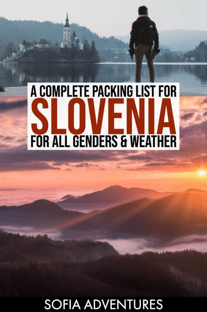 Not sure what to pack for Slovenia? Let this guide be your ultimate Slovenia packing list for women and men! We includes tips for what to wear in Slovenia in winter, summer, fall, and spring, as well as what to bring to Slovenia and what to leave behind.