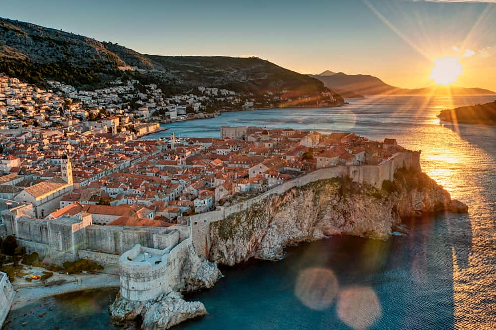 Dubrovnik - Croatia - Aerial view at sunset or sunrise over city