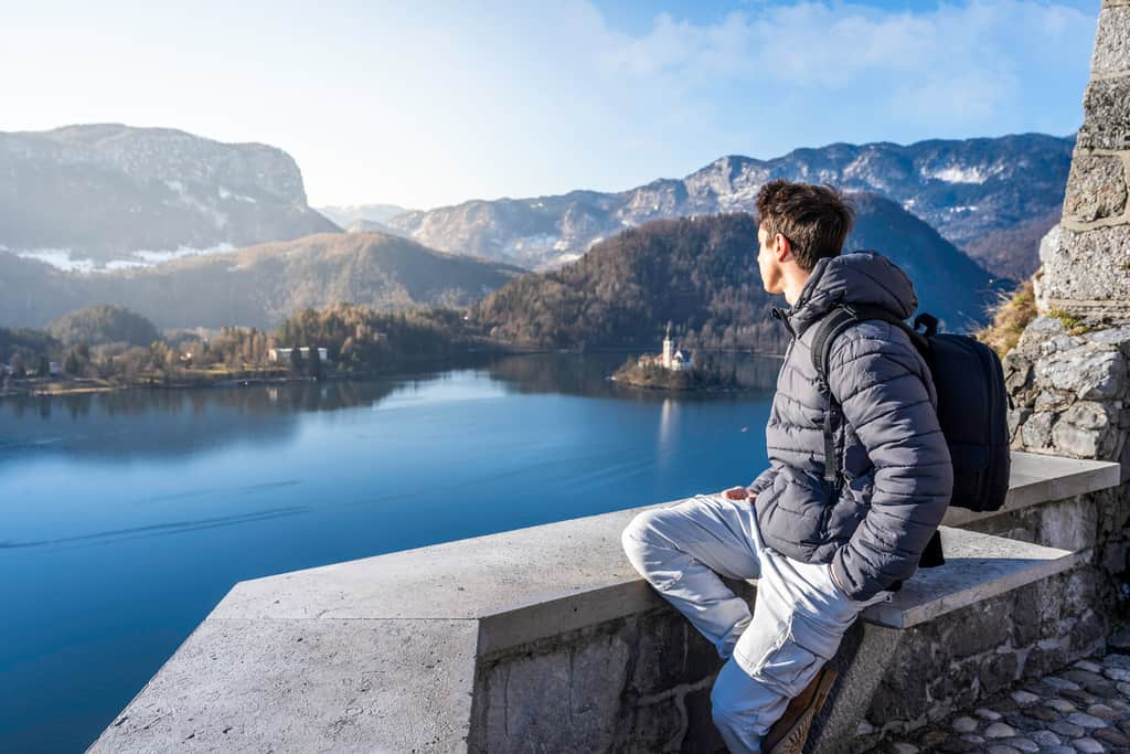 Slovenia - Lake Bled - Man in Winter