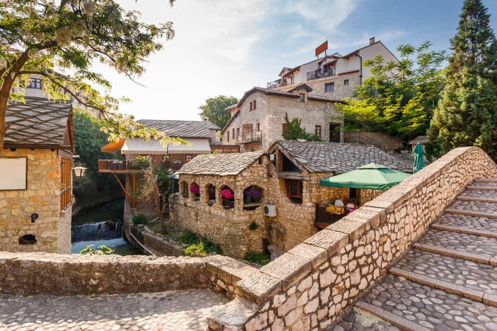 Mostar - Bosnia - Stone bridge and old buildings