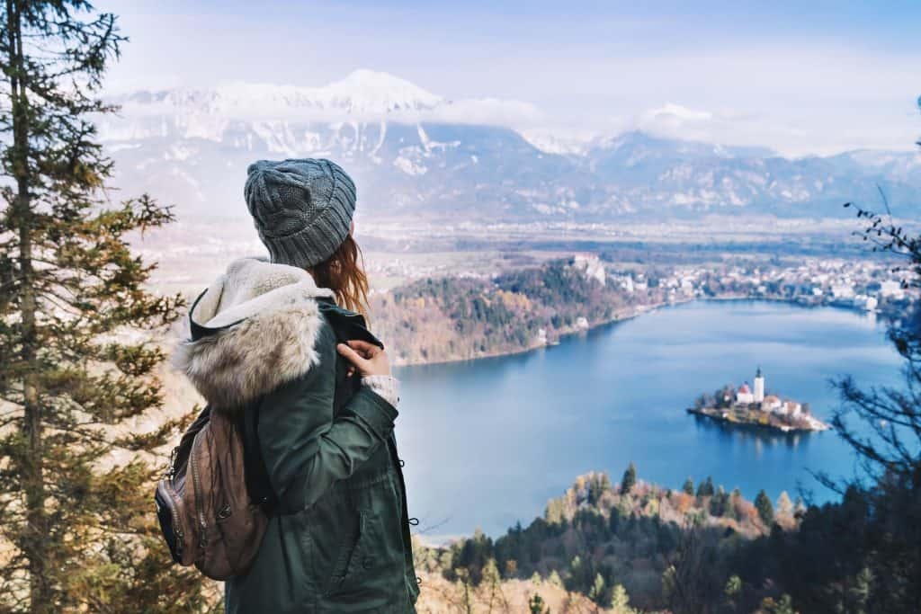 Slovenia - Lake Bled - Woman in Winter