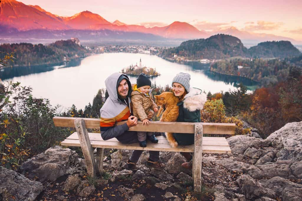 Slovenia - Bled - Family overlooking Lake Bled