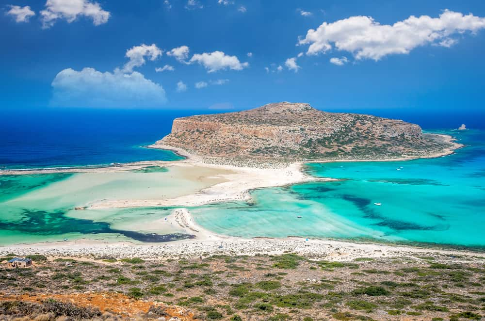 Greece - Crete - Balos Lagoon, Crete, Greece. Island with blue sand, sand bar with beaches on both sides
