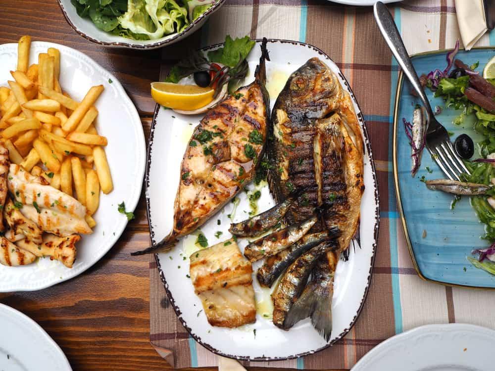 Dubrovnik - Croatia - Fresh fish and salad dinner