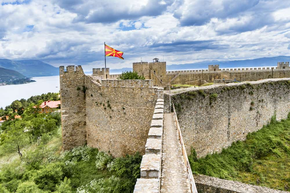 Ohrid - Macedonia - Fortress with Macedonian flag and Lake Ohrid in background