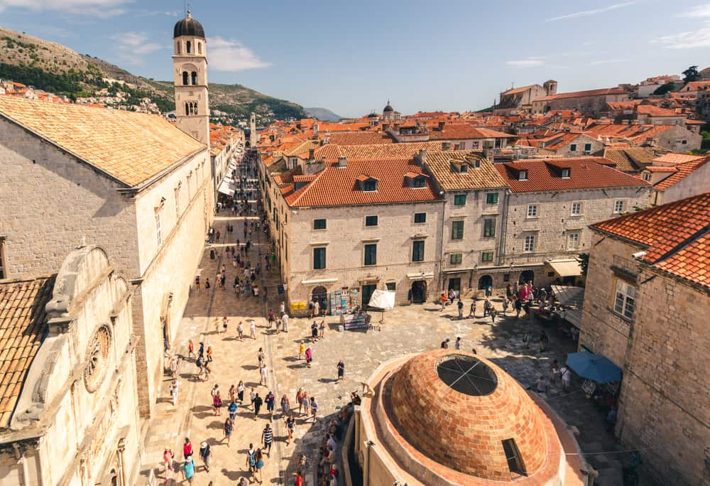 Dubrovnik - Croatia - Stradum Street as seen from city walls on busy day with people