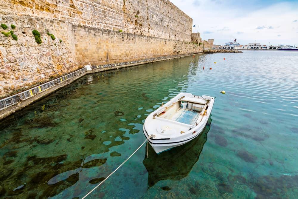 Greece - Rhodes - Boat in Rhodes Harbor