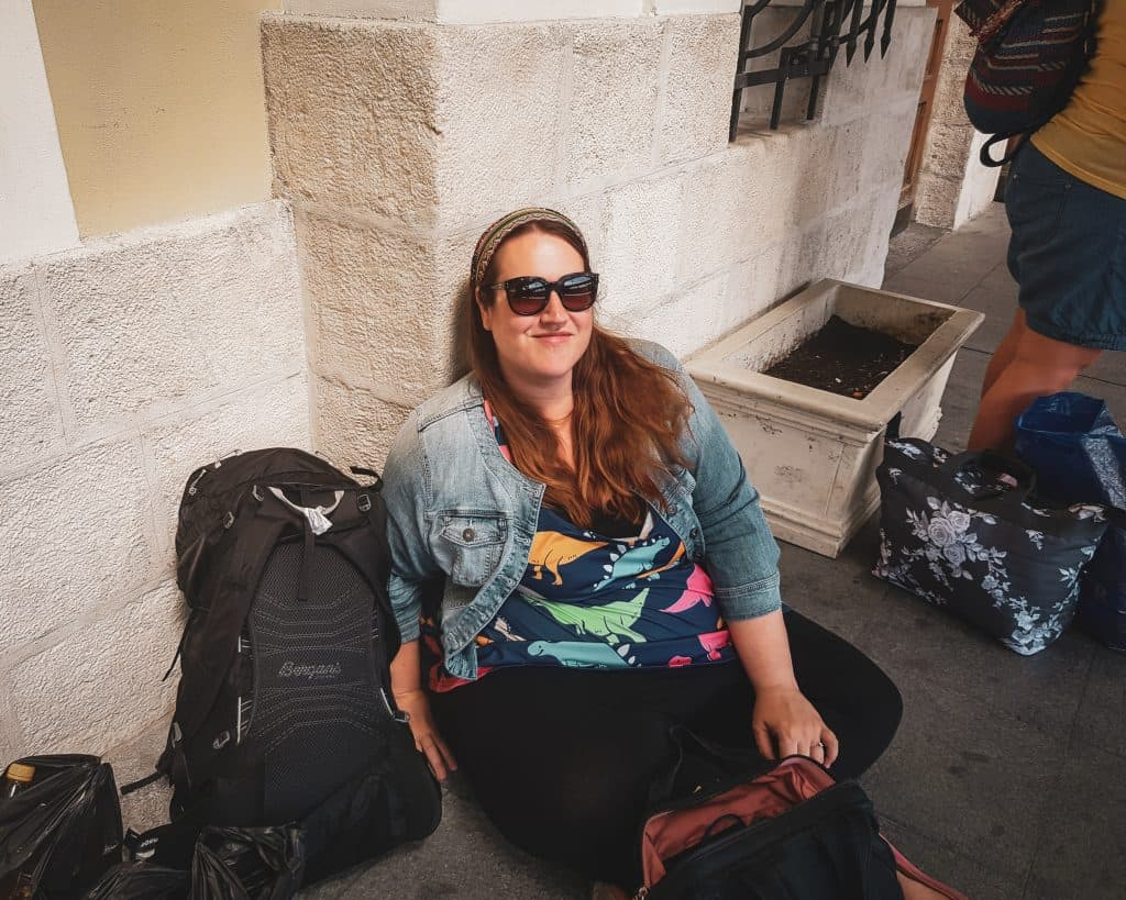 Bulgaria - Burgas - Stephanie at Burgas Train Station with Luggage
