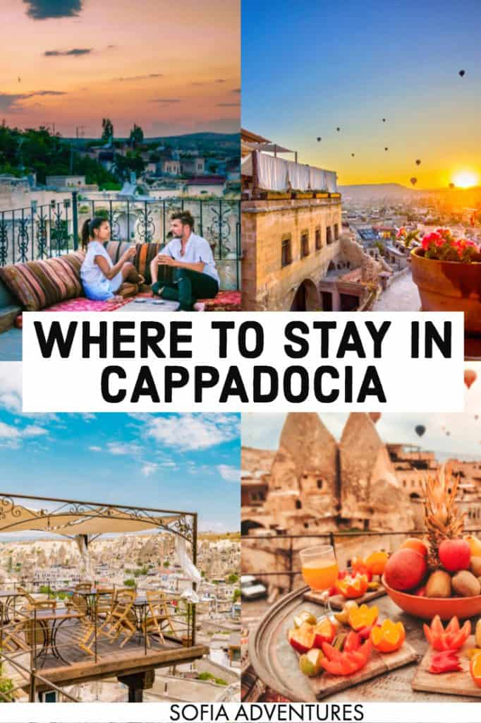 Wondering where to stay in Cappadocia? We've found a ton of incredible Cappadocia cave hotels worth staying in, whether you're visiting Cappadocia in luxury or on a budget. Here are our top suggestions for cave hotels in Goreme and Uchisar, Turkey, all with views of incredible sunrises and hot air balloons, delicious Turkish breakfasts, and beautiful Turkish decor!