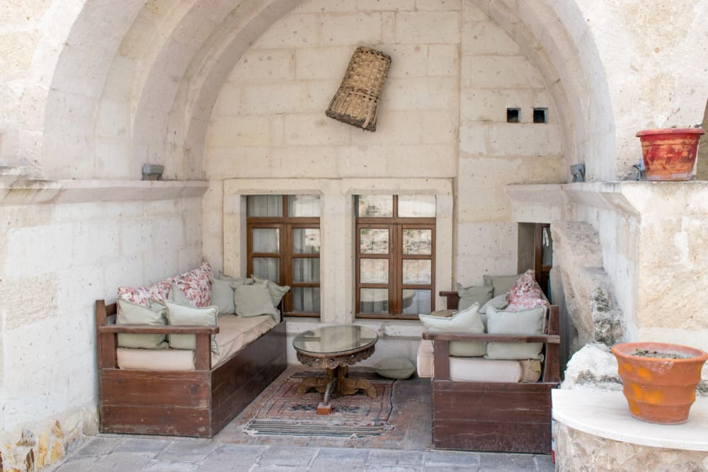 Cappadocia - Turkey - Cave hotel in Cappadocia, Turkey. The best historic mansions and cave houses for tourist stays are in Urgup, Goreme, Guzelyurt and Uchisar