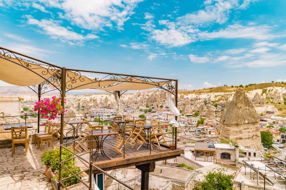 Cappadocia - Turkey - village of Goreme Cappadocia with cave hotels and restaurants at a bright day in summer Kapadokya