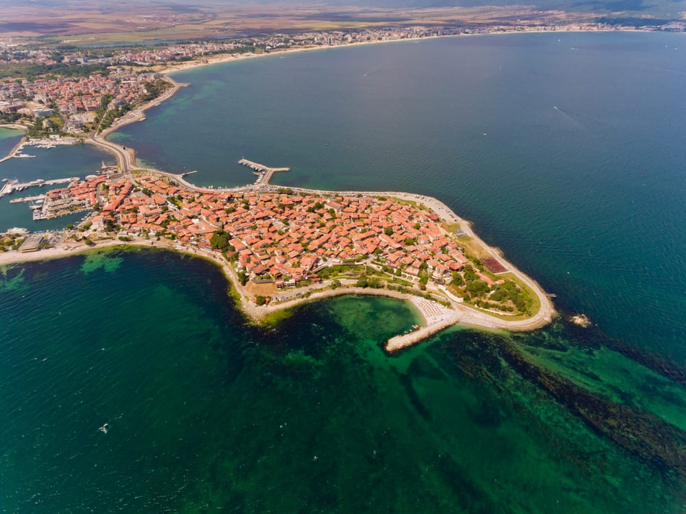 Bulgaria - Nessebar - Nessebar, ancient city on the Black Sea coast of Bulgaria. Aerial view. Drone Shot
