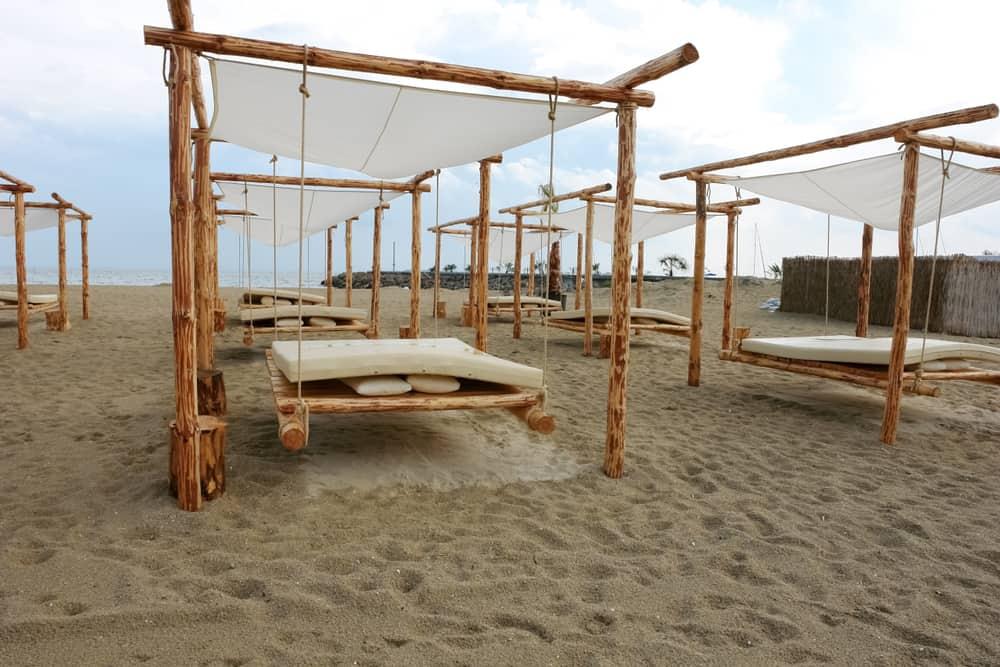 Bulgaria - Sveti Vas - Tents on a sandy beach after rain in the village of Sveti Vlas in Sunny Beach, Bulgaria