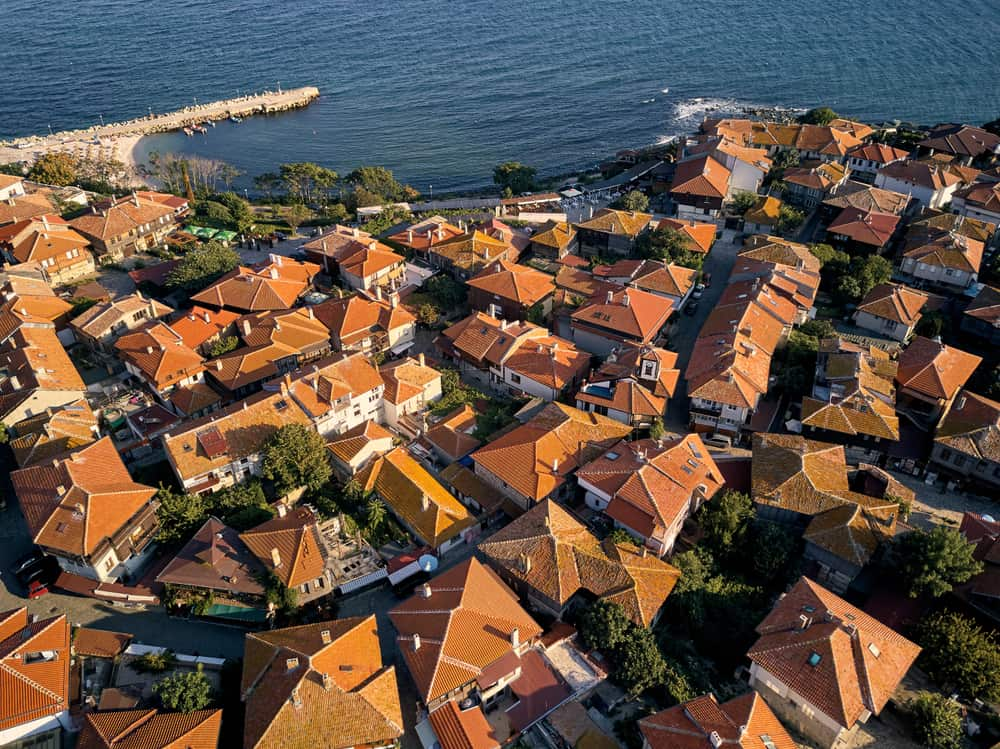 Bulgaria - Nessebar - Aerial view of the tile roofs of old Nessebar, ancient city on the Black Sea coast of Bulgaria, UNESCO World Heritage