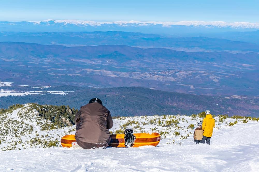 Bulgaria - Borovets - Snowboarder in Borovets during winter, Bulgaria