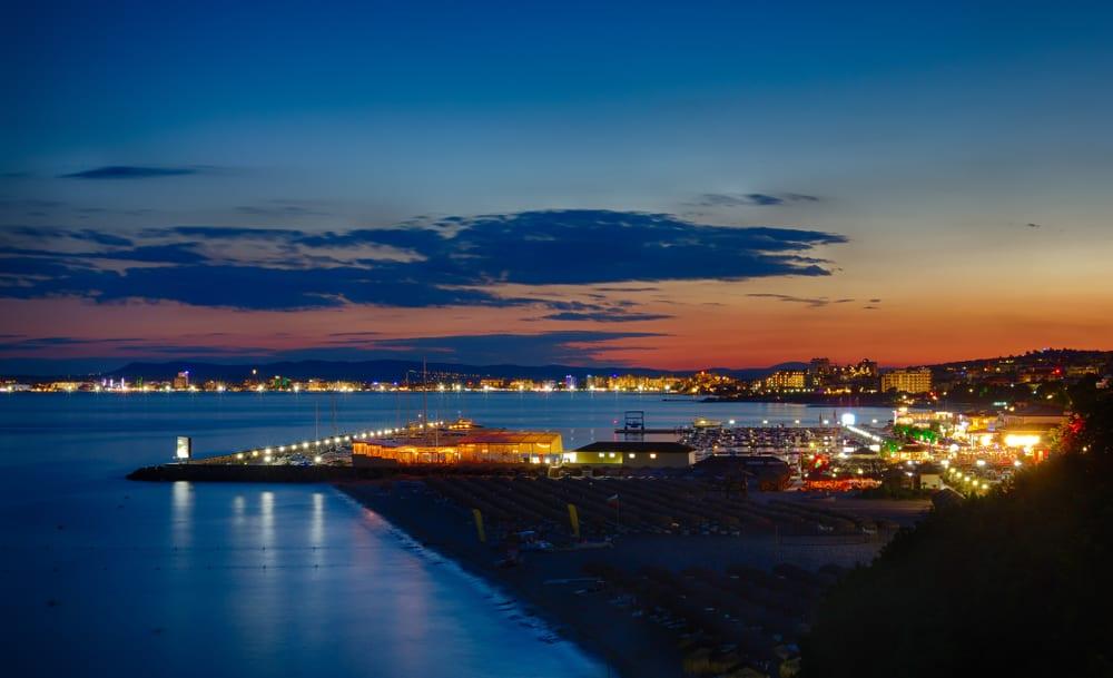 Bulgaria - Sveti Vlas - Summer night view on Marina Dinevi, Sveti Vlas town and Sunny Beach, Bulgaria