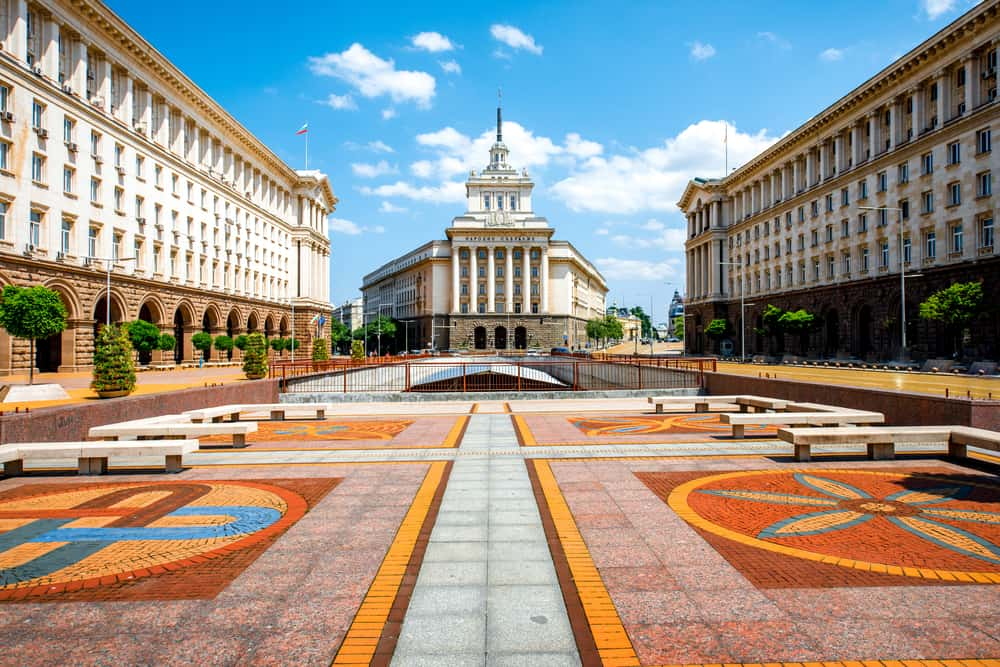 Bulgaria - Sofia - An architectural ensemble of three Socialist Classicism edifices in central Sofia, the capital of Bulgaria