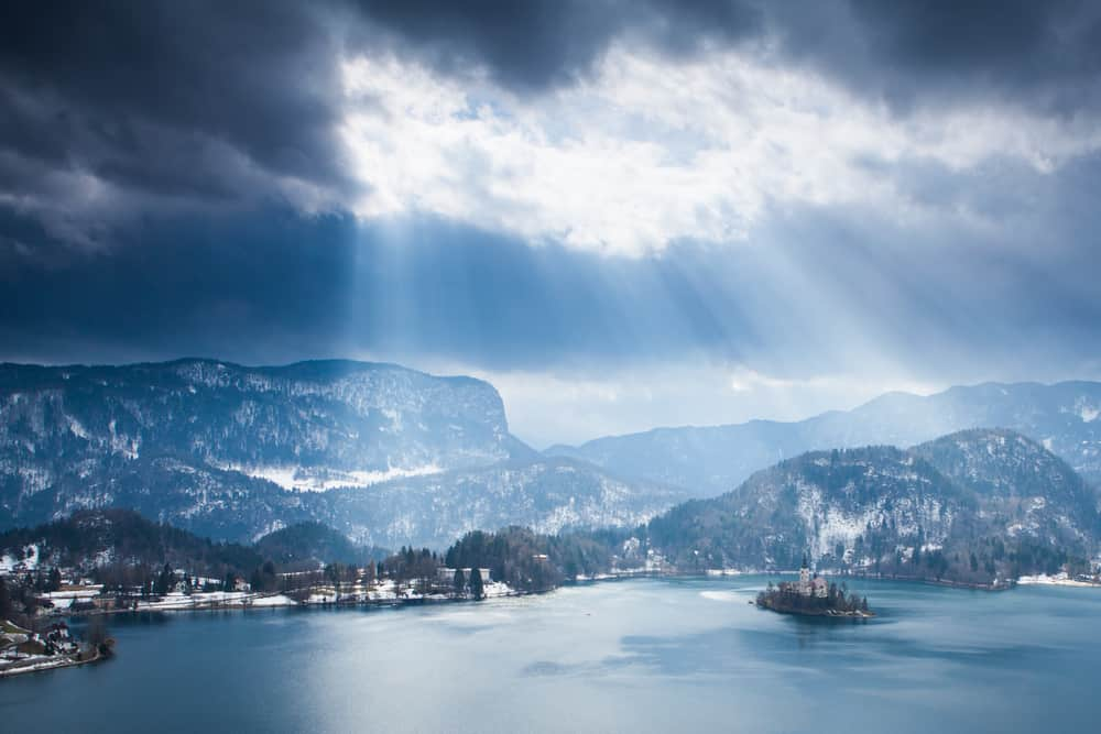 Bled - Slovenia - Lake Bled with island, Slovenia during winter