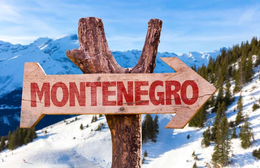 Kolasin - Montenegro - Sign on the snow that says Montenegro