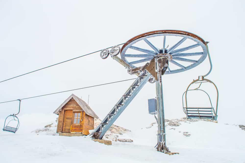 Kolasin - Montenegro - Ski lift and cabin in the snow