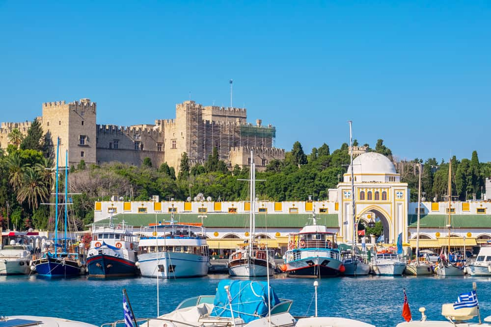 Rhodes Town - Greece - Boats in Mandraki Harbour. Rhodes Town, Rhodes, Greece